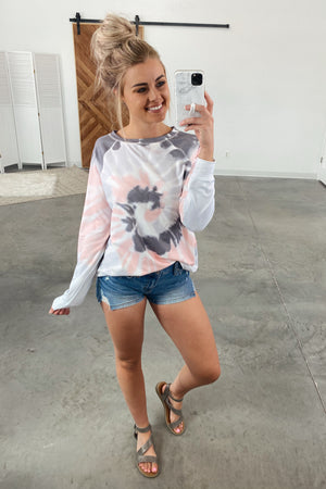 Sweetest Fortune Tie Dye Top-Grey(S-2X)