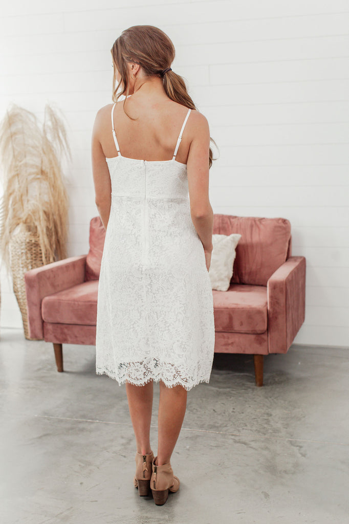 Vision in White Lace Dress