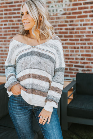 Kallie Striped Twist Back Sweater