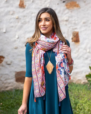 PRE-ORDER Grace & Lace Heirloom Blooms Lightweight Scarf - Pink and Poppy