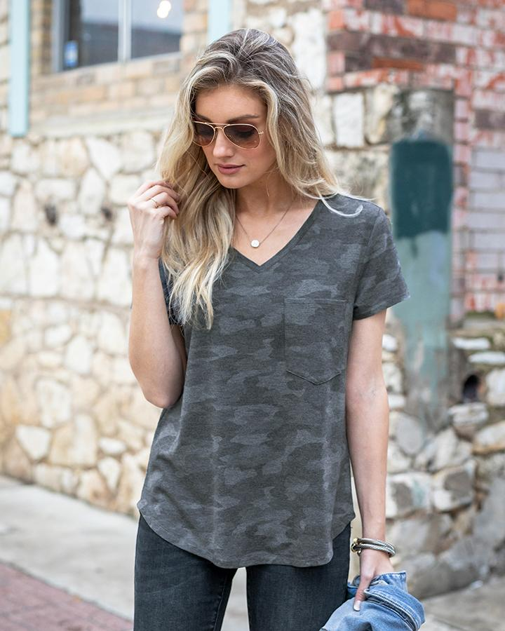 Grace & Lace Perfect Pocket Tee - Charcoal Camo