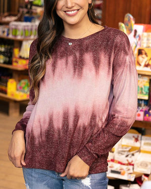 Grace & Lace Tie-Dye Hacci Pullover - Burgundy