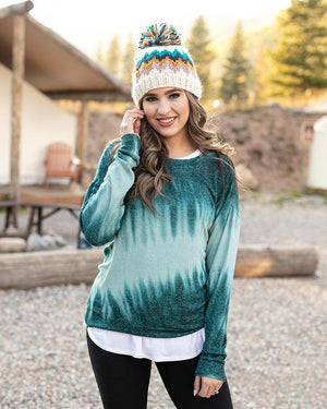 Grace & Lace Tie-Dye Hacci Pullover - Deep Teal