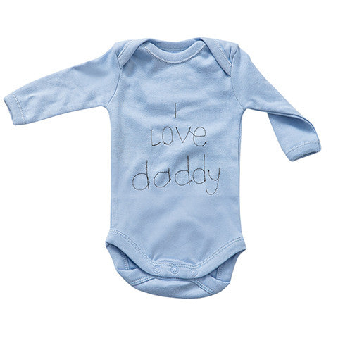 "Slogan Onesie - ""I love mommy"" & ""I love daddy"" - Crystal & Cloth"