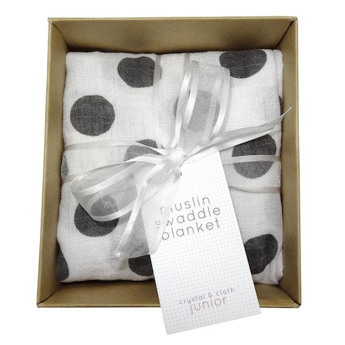 Swaddle Blanket - Black & White Polka - Crystal & Cloth