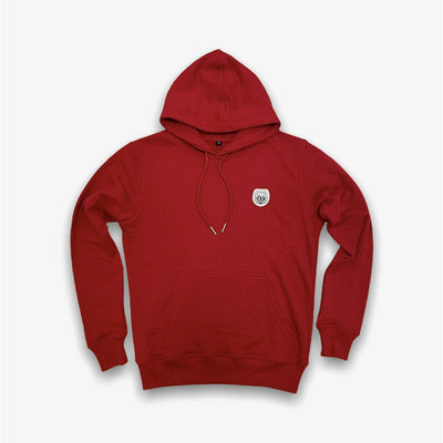 Sneaker Junkies Classic Logo Leather Patch Hoodie Red