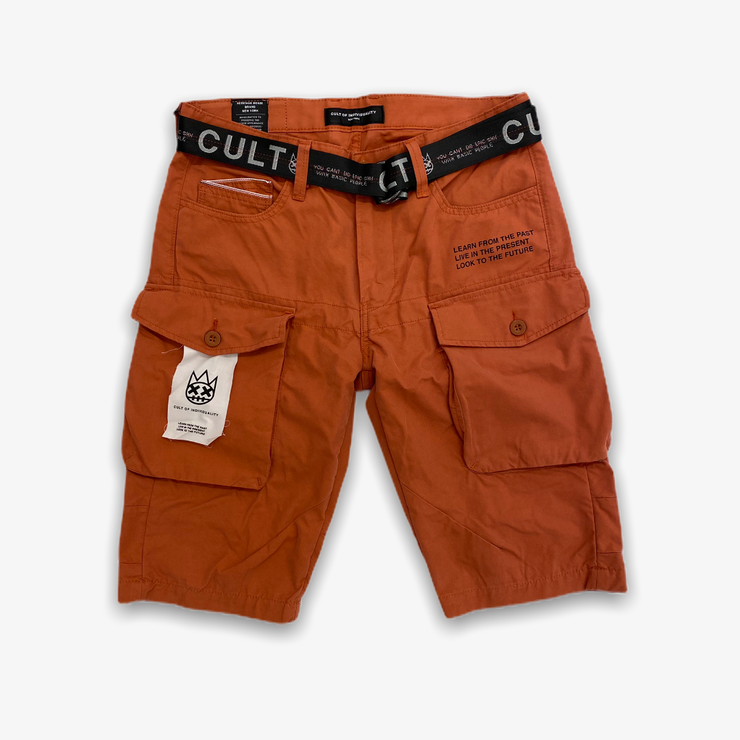 Cult of Individuality Cargo Shorts Belted Rust