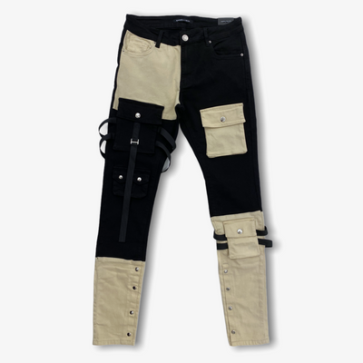 Embellish BANDIT CARGO DENIM Pants Split Black Cream