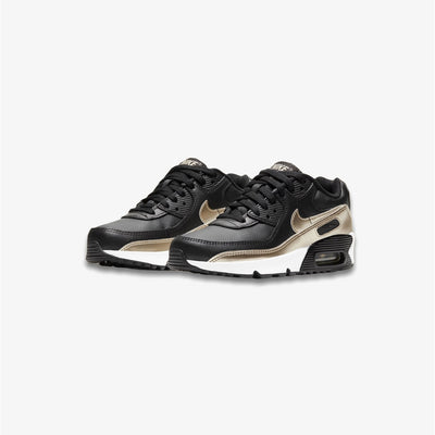 Nike Air Max 90 LTR Black Metallic Gold Star Grade School CD6864-008