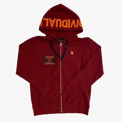 "Cult Of Individuality X Sneaker Junkies ""Kings of the North"" Zip Basic Logo Hoodie Burgundy"