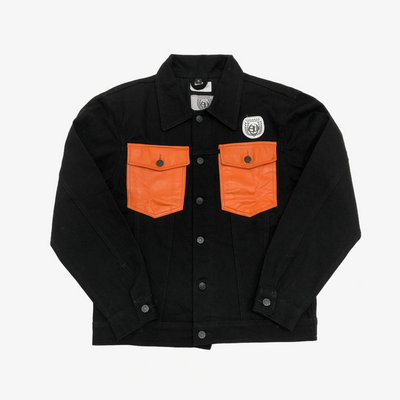 Sneaker Junkies Black Denim Jacket orange leather pocket