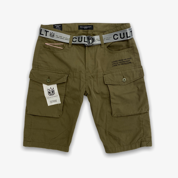 Cult of Individuality Cargo Shorts Belted Olive