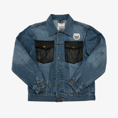 Sneaker Junkies Blue Denim Jacket black leather pocket