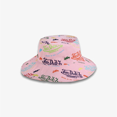 Von Dutch ALL OVER PRINT BUCKET HAT Pink