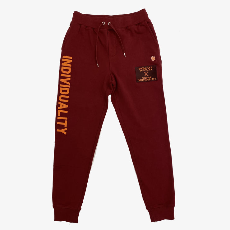 "Cult Of Individuality X Sneaker Junkies ""Kings of the North"" Basic Logo Sweatpants Burgundy"