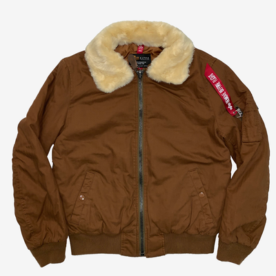 Women's Alpha Industries B-15 Herringbone Flight Jacket Rust