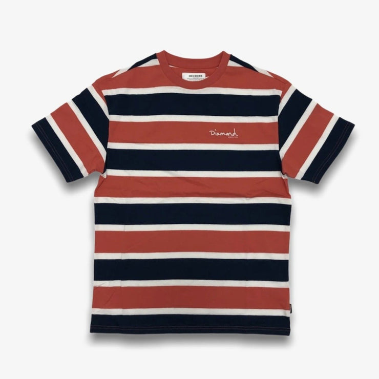 Diamond Supply Mini OG Script Striped T-shirt Coral