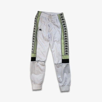 Kappa 222 Banda Memzz White Grey Silver Green Trackpants Joggers