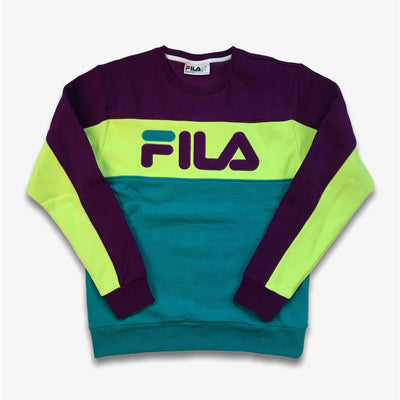 Fila Lesner Fleece Crewneck Sweater Grape Lime Aqua