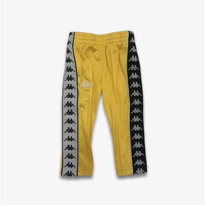 Kappa 222 Banda Astoria Slim Alternating Banda Yellow Black White Trackpants Youth Sizes