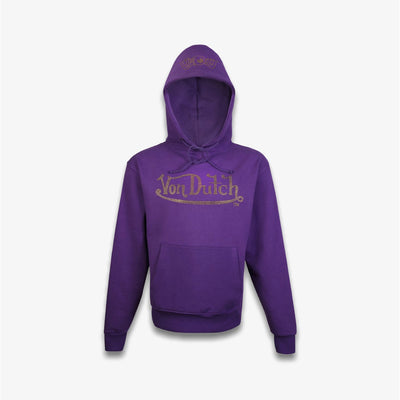 Von Dutch RHINESTONE FLEECE HOODIE Purple