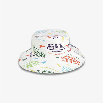 Von Dutch ALL OVER PRINT BUCKET HAT white