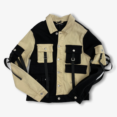 Embellish Bandit Denim Jacket Split Black Cream