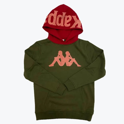 Kappa Authentic Dave Pullover Hoodie Green Red Pepper