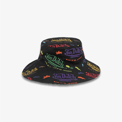 Von Dutch ALL OVER PRINT BUCKET HAT Black