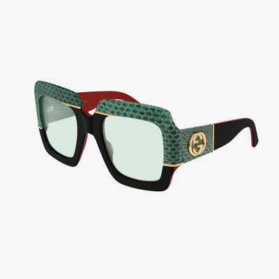 Gucci W Sunglasses GG0484S 003 Black Green
