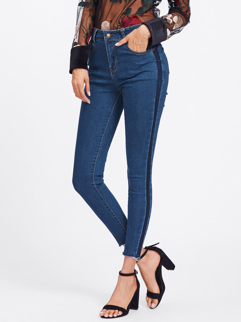 Contrast Side Striped Frayed Hem Jeans Rad Look!