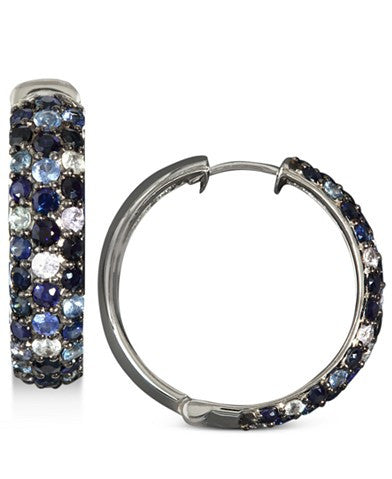 Saph Splash by EFFY Multicolor Sapphire Large Hoop Earrings (4 ct. t.w.) in Sterling Silver