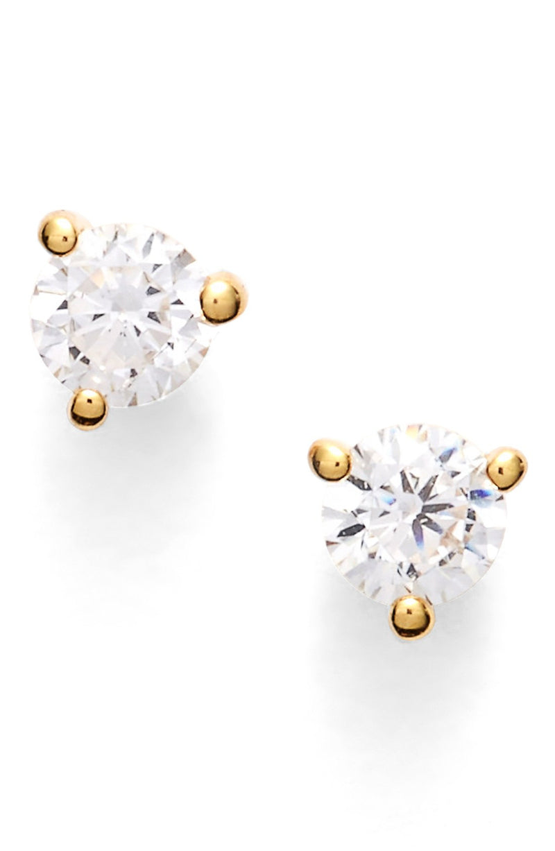 Precious Metal Plated 0.25ct tw Cubic Zirconia Stud Earrings