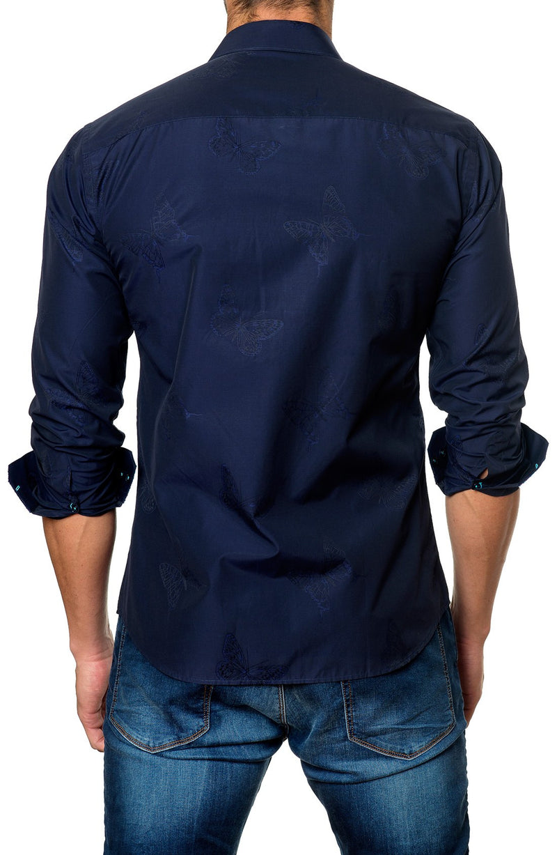Trim Fit Butterfly Jacquard Sport Shirt