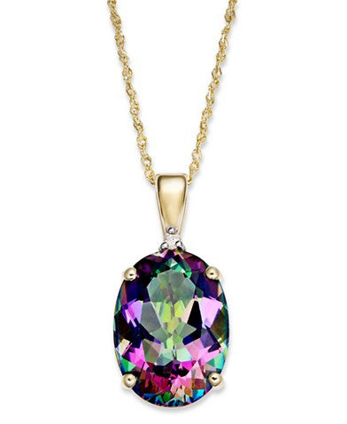 Mystic Topaz (7-1/3 ct. t.w.) and Diamond Accent Oval Pendant Necklace in 14k Gold