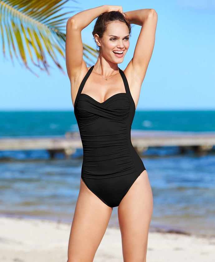 La Blanca Ruched Over the Shoulder One-Piece Swimsuit