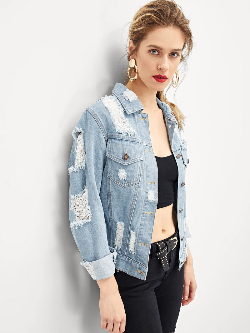 Bleach Wash Distressed Denim Jacket