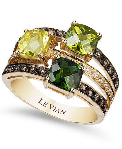 Le Vian Green Tourmaline (7/8 ct. t.w.), Peridot (7/8 ct. t.w.), Lemon Quartz (7/8 ct. t.w.) and Chocolate (1/3 ct. t.w.) and White Diamond (1/10 ct. t.w.) Ring in 14k Gold