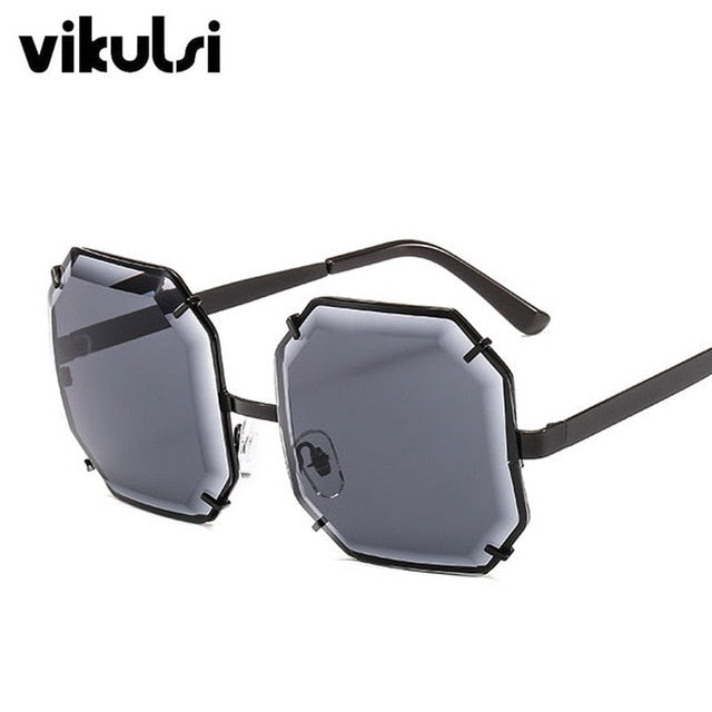 Unisex Fashion Square Sunglasses Women  Luxury Brand Designer Polygonal Cutting Sun Glasses