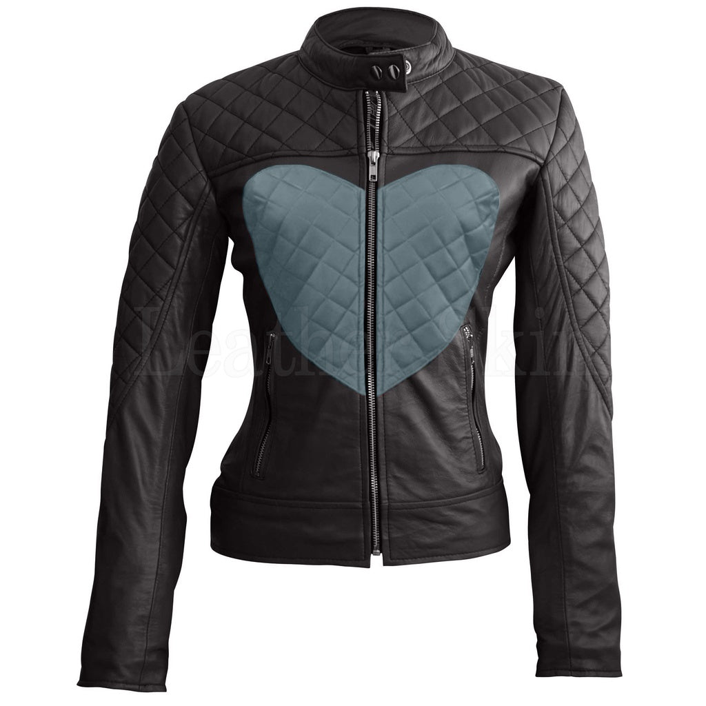 Women Black Gray Heart Leather Jacket.