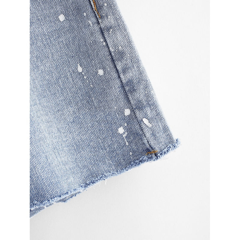 Raw Hem Denim Shorts.