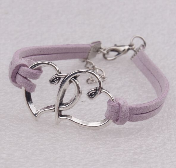 Infinity handmade bracelet Vintage Antique Silver Rope double heart Charms Infinity Bangles Leather Bracelet