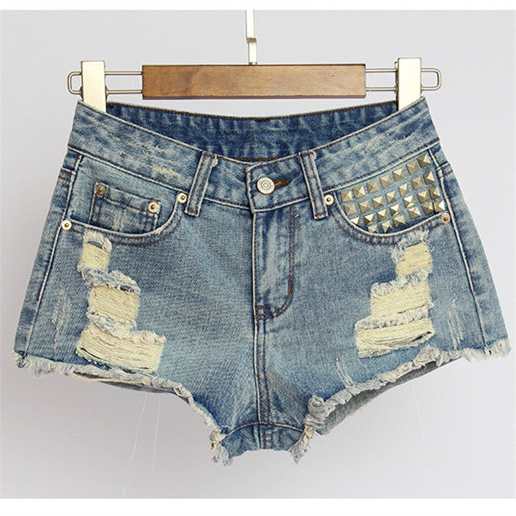 Mystery DISTRESSED High Waisted Shorts Studded Shorts - All Sizes