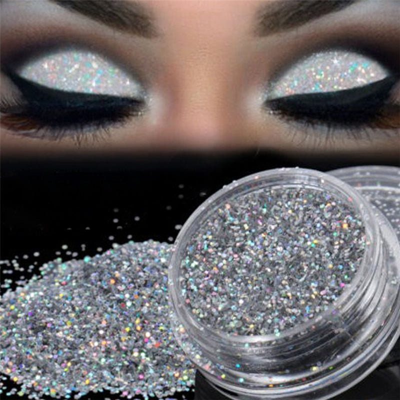 New Brand 1Box Fashion Sparkly Makeup Glitter Loose Powder Silver Eye Pigment Makup Glitter