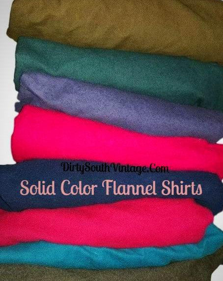Solid Color Mystery Flannel Shirts, All sizes