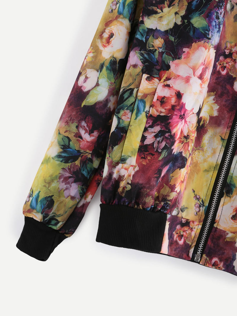 Contrast Ribbed Trim Florals Jacket