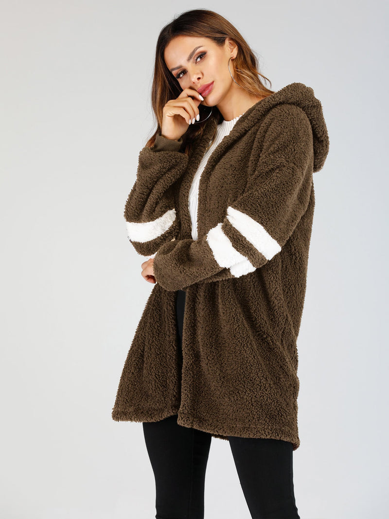 Varsity Sleeve Hooded Teddy Coat