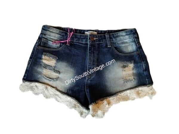 Size 27 Forever 21 Denim Lace Modified Shorts. 1 PAIR LEFT!