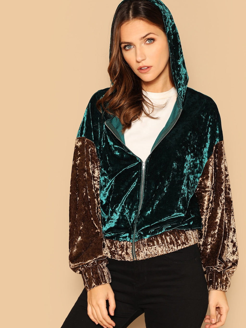 Two Tone Zip Front Hooded Velvet Jacket