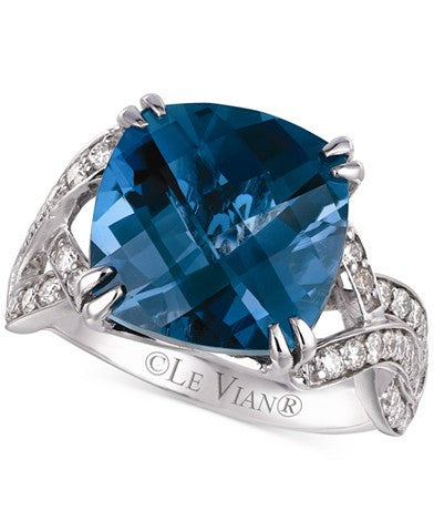 Le Vian Blue Topaz (8 ct. t.w.) and Diamond (1/2 ct. t.w.) Ring in 14k White Gold